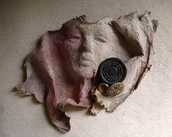 Art face, paper sculpture, handmade paper, face sculpture