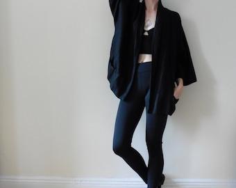 Black Linen Kimono Jacket