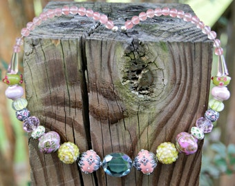 Summer's Beauty Memory Wire Crystal and Rose Quartz Collar Necklace