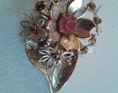 Brooch or Pendant - Gold Colored Pink Rhinestone Flower Bouquet Brooch