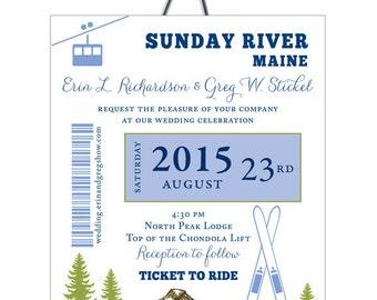 Ski Pass Mountain Wedding, Skis and Trees Gondola Wedding Invitation