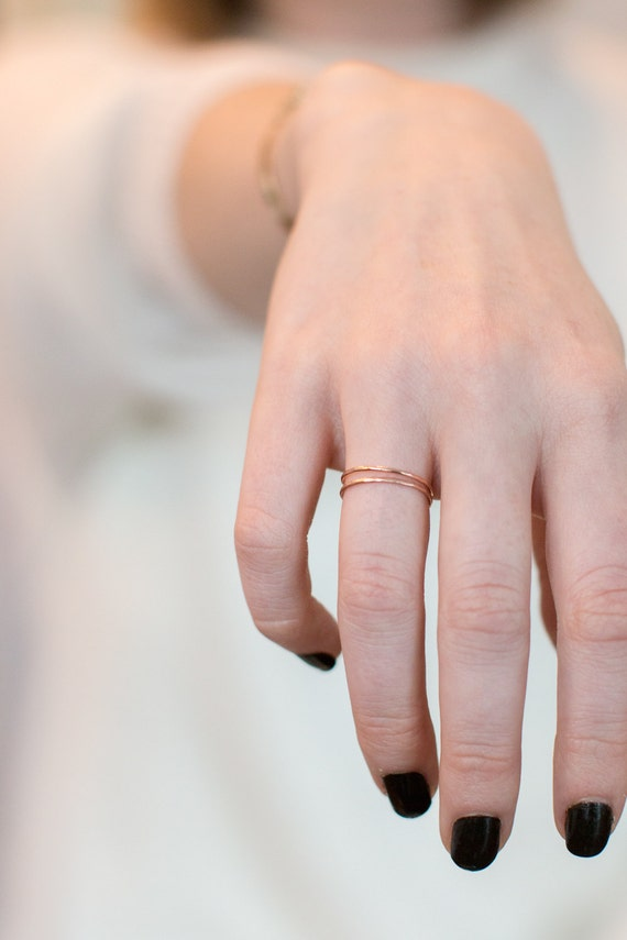 Pretty Little Rose Gold Band / Ready to Ship / Hammered 14k Gold Ring Perfect for Stacking Sets or Wear Alone for a Minimal Delicate Style