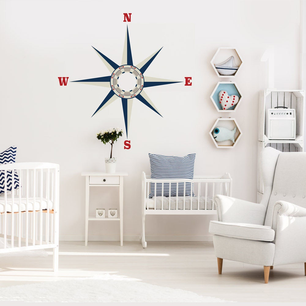nautical compass wall decal repositionable matte fabric peel. Black Bedroom Furniture Sets. Home Design Ideas
