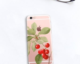 Cherries iPhone 7 Case Clear Cherry iPhone 6s, 6, 7 Plus, Retro Gift For Her