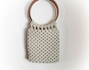 Vintage 1970s Macrame Woven Bag with Large Loop Handles