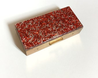 Vintage Red Lucite Confetti and Brass Hinged Box