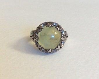 Prehnite sterling silver ring must see