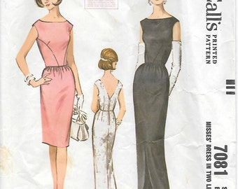 McCalls 7081-1960s Bateau Neck Sleeves Fitted Dress Vintage Sewing Pattern Size 14 Bust 34 Wiggle Dress Evening Gown