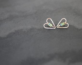 Valentines Day Special - 30% Off - Minimal Tiny Gold Filled or Silver Hematite Heart Earrings