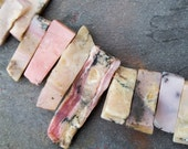 Pink Peruvian Opal with Brown, Black, Tan, White Irregular top drilled slab beads, stick beads