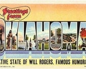 Vintage Oklahoma Postcard - Greetings from Oklahoma (Unused)