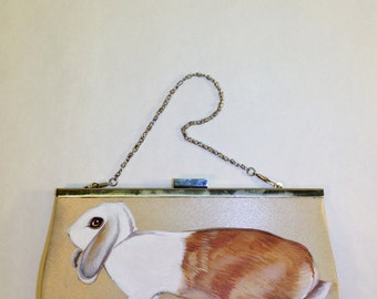Sale Vegan Lop Eared Rabbit evening clutch - handpainted, beige satin, silver, small upcycled vintage purse