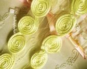 LEMON YELLOW rolled Flower lace Trim 1 yd