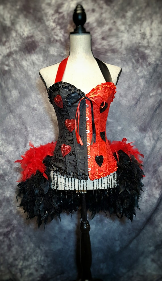 HARLEY QUINN Costume Cosplay Queen of hearts burlesque red & black feather dress
