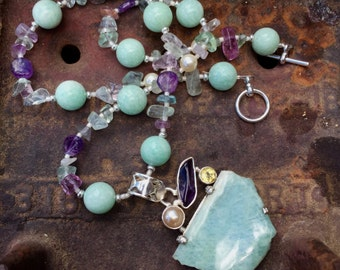 PARADISE ISLAND Necklace (Amazonite, Amethyst, Rainbow Fluorite, Swarovski (R) Crystal Pearls, Sterling Silver, Citrine)