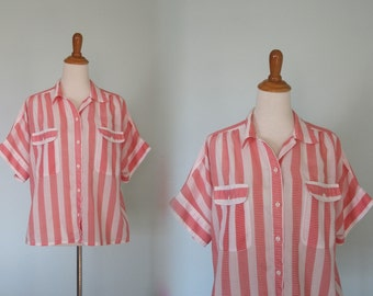 Cute 80s Red and White Striped Slouchy Blouse - Vintage Short Sleeved Striped Shirt - Vintage 1980s Blouse M L