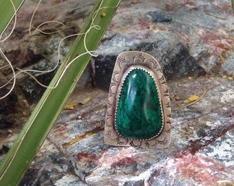 Chrysocolla stamped ring - size 8