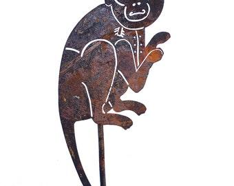 Monkey Metal Garden Art Sculpture-Home and Garden Decor - Free Shipping!