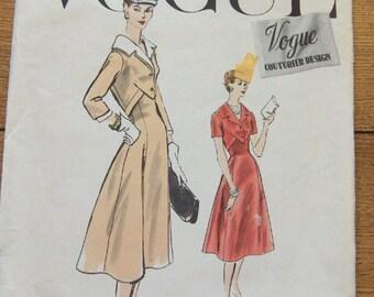 Vintage 50s Vogue couturier design pattern 904 Misses one piece dress  sz 10 bust 28 hip 31