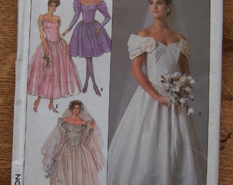 vintage 80s simplicity pattern 8413 wedding dress bridal gown sz 14 uncut