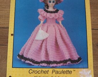 Vintage 80s crochet pattern PAULETTE  dress hat doll clothes  15 inch fashion doll