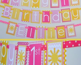 Sunshine Birthday Party Banner Fully Assembled Decorations