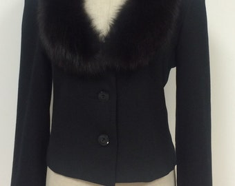 1990s Coat - J. Percy for Marvin Richards Black Short Waist Coat with Genuine Fur Collar - Holiday Jacket- Fur Collar - 36 Bust