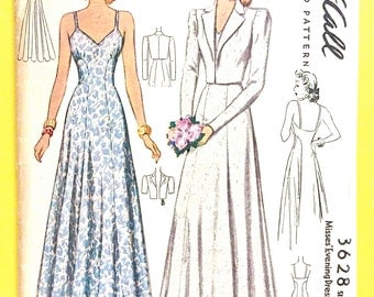 1940s McCall 3628 Evening Gown Dress and Jacket Pattern Vintage Sewing Pattern  Fitted Bodice Floor Length Bare Back Full Skirt Bust 32