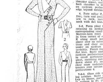 1930s Excella E3616 Dress Pattern Women's Tailored Dress Inverted Pleat, Revers, Asymmetrical Zig Zag, Vintage Sewing Pattern Bust 34 Hip 37