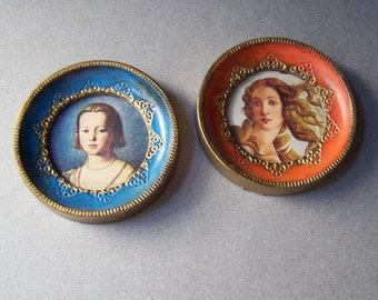 Vintage Miniature Portraits ~ Small Circular Framed Wall Art ~ Renaissance