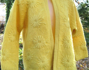 Hand Loomed YELLOW FLOWERS button down sweater, long sleeves sleeved All Wool sweater, button down cardigan, winter summer or spring sweater