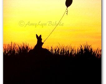 Wildlife Wonders - Sunset Summer Balloon Cottontail Rabbit - Fantasy Art Prints by Bihrle wd119