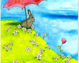 Wildlife Wonders - Valentine Waiting for the Rain Rabbit - Art Prints by Bihrle wd95
