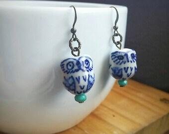 Porcelain Owl Dangle Earrings Ceramic Bead - Love Birds No. 1