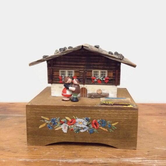 Vintage Music Box Wood Chalet with Dancing Couple - Jewelry Keepsake Box