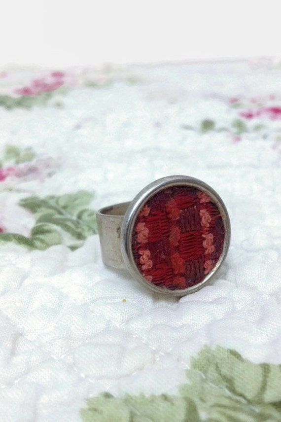 Woven Textile Embroidery Ring - Silver Band - Boho Style - Vintage