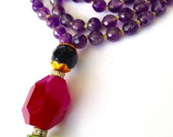 108 beads Amethyst mala, Yoga Necklace, meditation japa mala, Tassel necklace, healing jewelry,