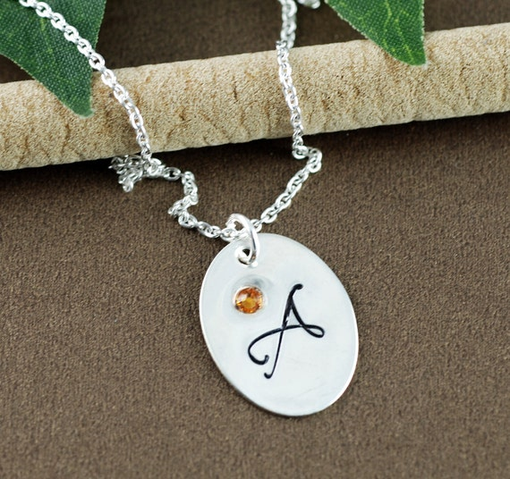 Personalized Initial Necklace | Hand Stamped Initial Necklace | Personalized Birthstone | Gift for Daughter | Gift for Friend