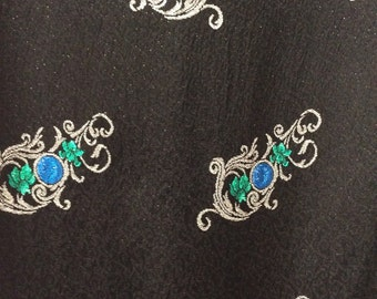 1960s vintage lurex fabric Black with silver turquoise and green motifs 1m x 140 cm, for 60s Mad Men retro wiggle dress or boho maxi skirt