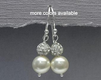 Ivory Pearl Bridesmaid Earrings in Sterling Silver, Swarovski Ivory Pearl Earrings, Bridesmaid Jewelry, Bridesmaid Gift, Wedding Earrings