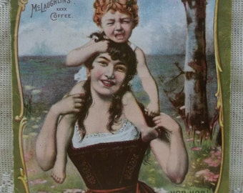 XXXX McLaughlin's Coffee Victorian Trade Card-Boy on Pretty Girls Shoulders