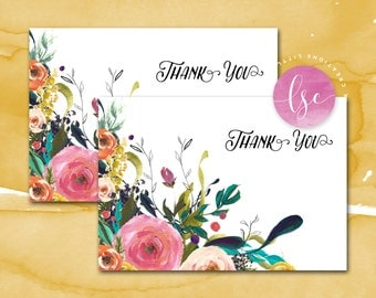 Thank You Cards, Thank You Notes, Thank You Note Cards, Watercolor Floral Thank You Note Card, Instant Download Thank You, Sublime Floral