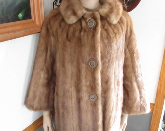 Mink Coat Soft Autumn Haze Color Womens Vintage Winter Fur Mink Coat