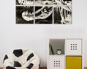 Large Kids Room Dinosaur Wall Art - Trex Print - Large Wall Art Decor in Customizable Colors 24x36