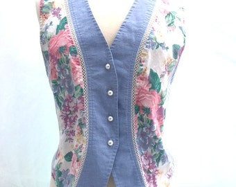 Vintage 80s FLORAL Vest Shirt / Pearl Buttons / Cinched Waist