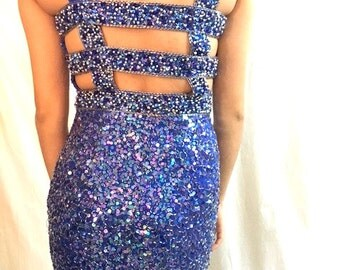 Vintage 80s 90s BLUE SEQUIN Cocktail Party Dress / Nightline by Della Roufogali / New Years Eve SPARKLE Dress