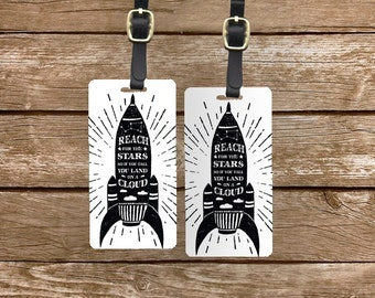 Personalized Luggage Tags Reach for the Stars Rocket Black and White Grunge -Printed Personalization Single Tag or Set Available