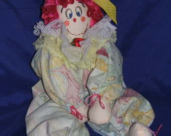Girl Clown Doll is a handmade child friendly rag doll from heart of Ohio