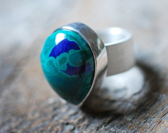 Deep Green Sea Ring Malachite Azurite