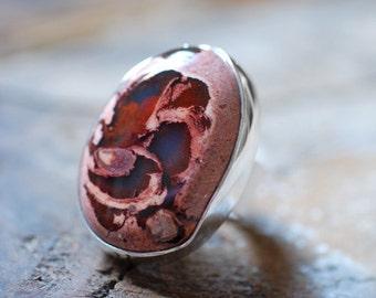 Dollybird Raw Black Rainbow Fire Opal Ring